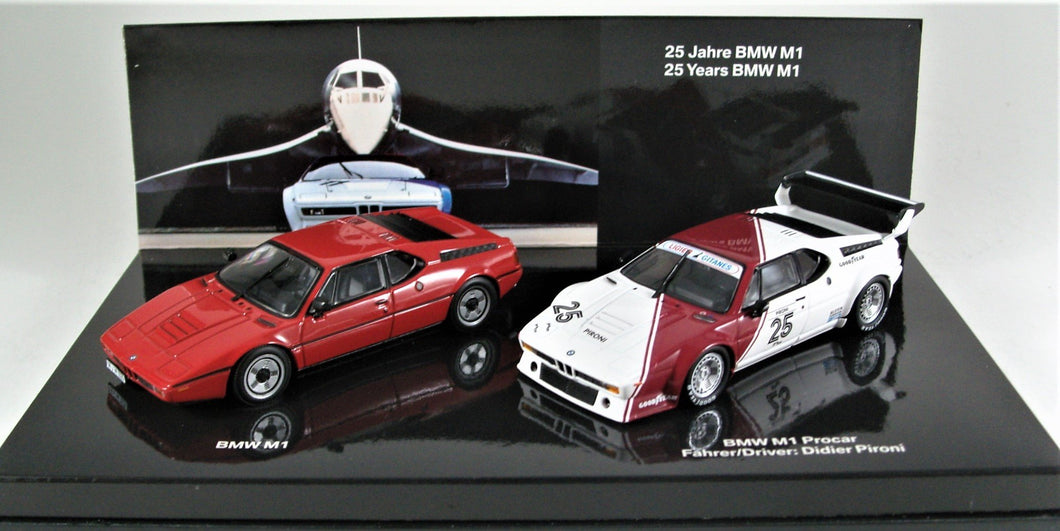 1:43 White  BMW  E26 1979 M1 ProCar #25 & M1 road car