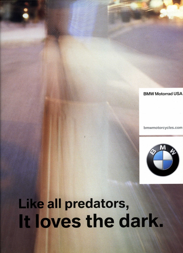 Brochure - Like all predators, It loves the dark - 2003 Full Model Line BMW Motorcycle Brochure