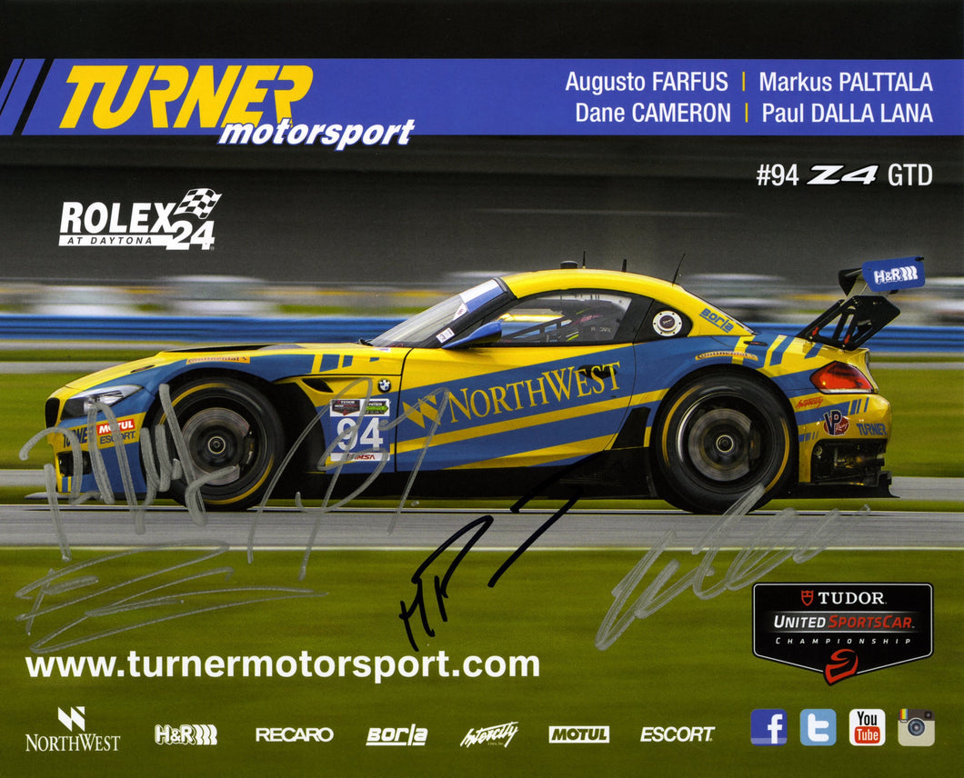 Signature Card - Turner Motorsport Team 2014 #94 Signature Card - autographed by 5 drivers