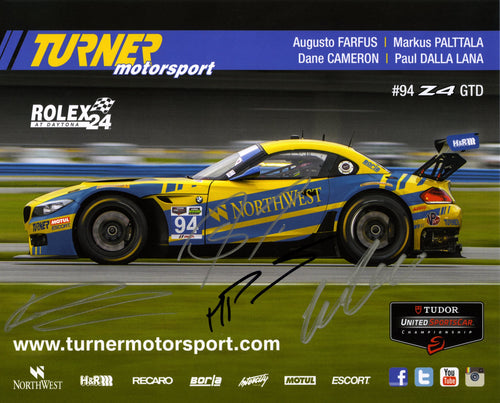 Signature Card - Turner Motorsport Team 2014 #94 Signature Card - autographed by 4 drivers