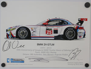 Autographed Print - BMW Z4 GTLM - 1975-2015 40th Anniversary inagural BMW Twelve Hours of Sebring Win