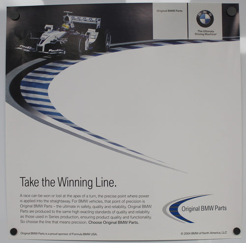 Poster - Take the Winning Line. Original BMW Parts  - BMW Williams FW25