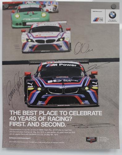 Autographed Poster - The Best Place To Celebrate 40 Years of Racing? First. And Second. Poster - E89 Z4 GTLM
