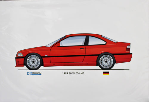 Print - 1999 BMW E36 M3 Coupe Print - Red