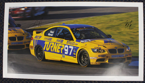 Autographed Poster - Turner Motorsport - BMW E92 M3 #97 signed by Joey Hand  and Michael Marsal