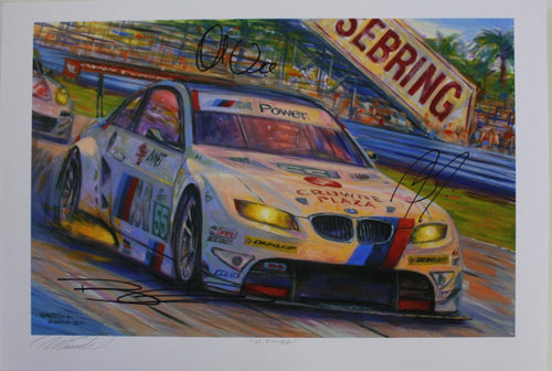 Autographed Print - M Power - BMW E92 M3 GT at Sebring - Autographed