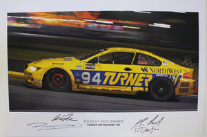 Autographed Poster - Rolex-GT Race Winner Turner Motorsport M6 - E63 M6 #94 signed by Will Turner, Boris Said, Bill Auberlen and Paul Dalla Lana