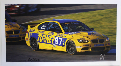 Autographed Poster - Turner Motorsport  - BMW E92 M3 #97 signed by Joey Hand, Will Turner and Michael Marsal