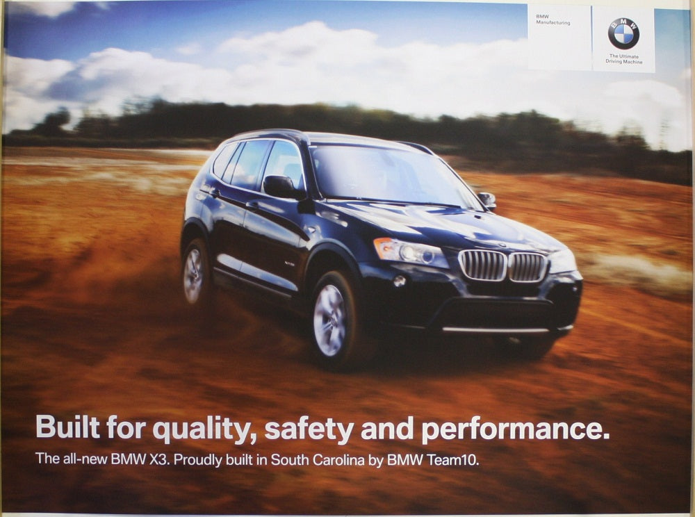 Poster - Built for quality, safety and performance. BMW F25 X3.
