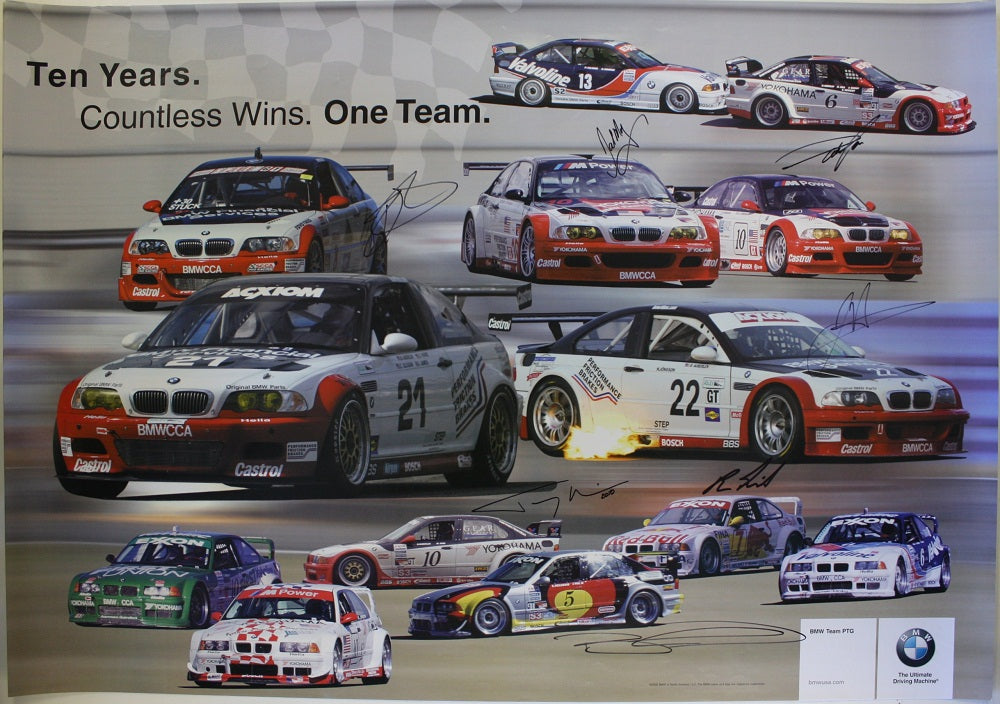 Autographed Poster - Ten Years. Countless Wins. One Team. BMW PTG 10th Anniversary Racing Poster