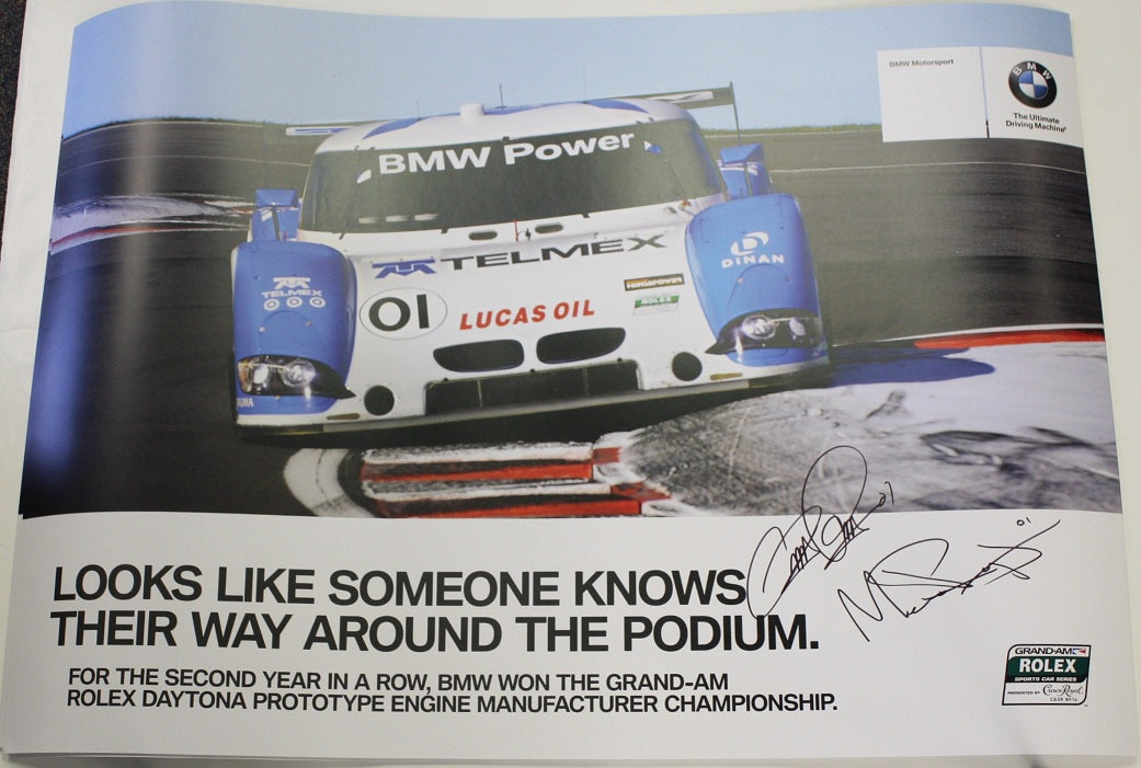 Autographed Poster - Double Sided Looks like someone knows...It's Hard to Beat...BMW Riley & Turner Motorsport E92 M3