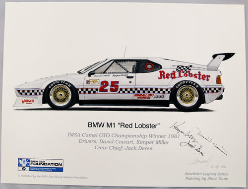 Autographed Print - BMW M1 Red Lobster 1981 Print
