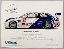 Load image into Gallery viewer, Autographed Print - BMW E46 M3 GTR - 2001 ALMS GT Championship Car