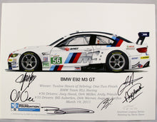 Load image into Gallery viewer, Autographed Print - BMW E92 M3 GT - Winner of the 2011 Twelve Hours of Sebring Race