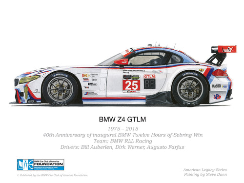 Print - BMW Z4 GTLM - 1975-2015 40th Anniversary Inagural BMW Twelve Hours of Sebring Win