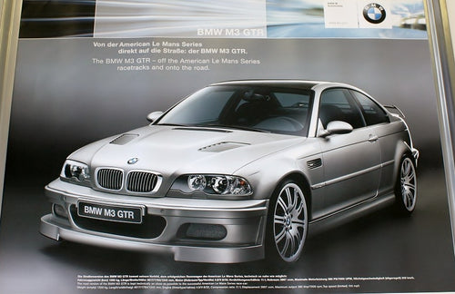 Poster - The BMW M3 GTR - off the American Le Mans Series racetracks and onto the road - Street Version in Silver - E46