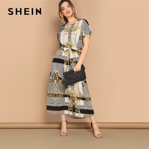 a790798e805 SHEIN Plus Size Mixed Scarf Print Curved Hem Belted Maxi Dress Women Modest  Casual Short Sleeve