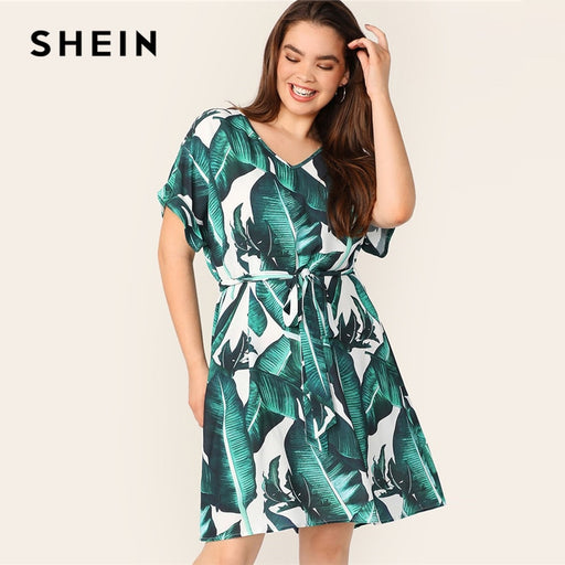 35db699d969 SHEIN Plus V Neck Tropical Print Belted Dress Women Summer 2019 Tunic Boho  Straight With Belt
