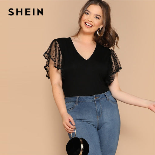 fde4a76034 SHEIN Plus Size Black Embroidered Mesh Flutter Sleeve Bodysuit 2019 Women  Summer Contrast Mesh V neck