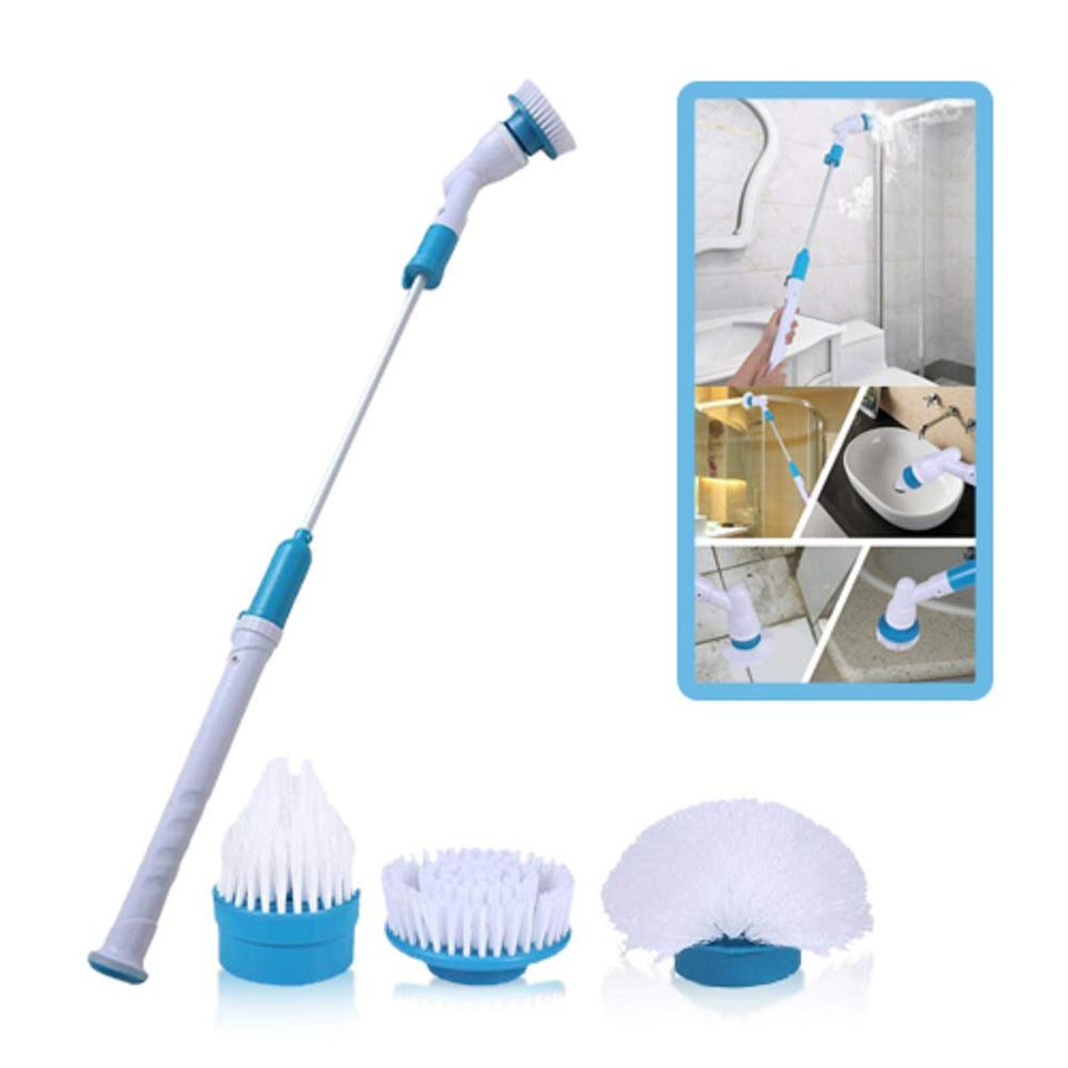 Plastic Spinning Scrubber Electric Machine Floor Cleaning Bathroom Tiles Cleaner Tool with 3 Replaceable Brushes and Long Extension Handle
