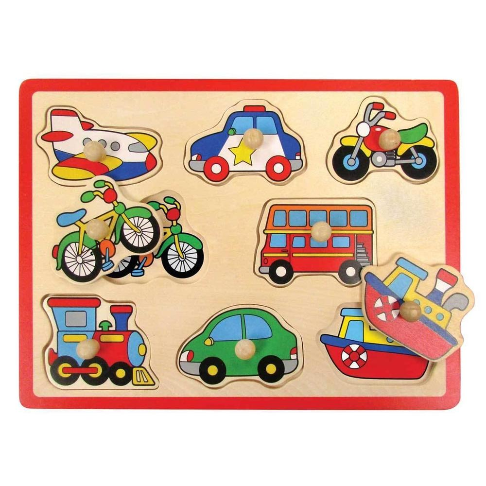 Windsor™ 8-Piece Transports Wooden Peg Puzzle from Kids Preferred 81787370418 37041