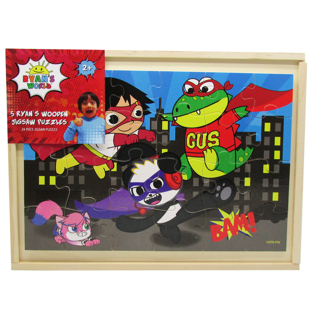 Ryan's World - Ryan's 5 in 1 Super Hero Puzzles in Wooden Tray Storage.