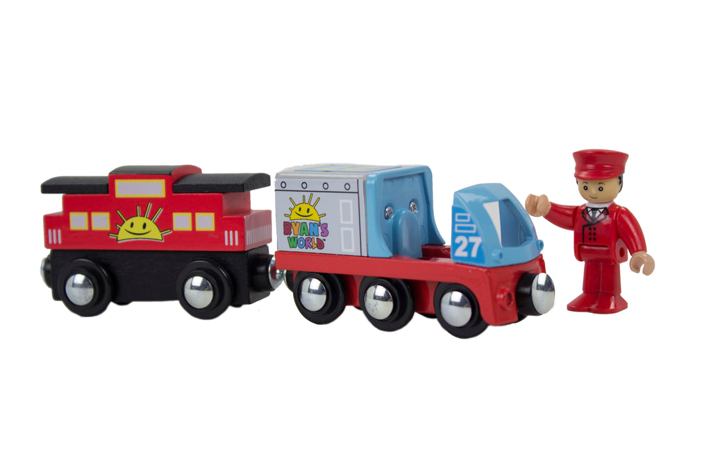 Ryan's World - Ryan Conductor with Engine & Caboose