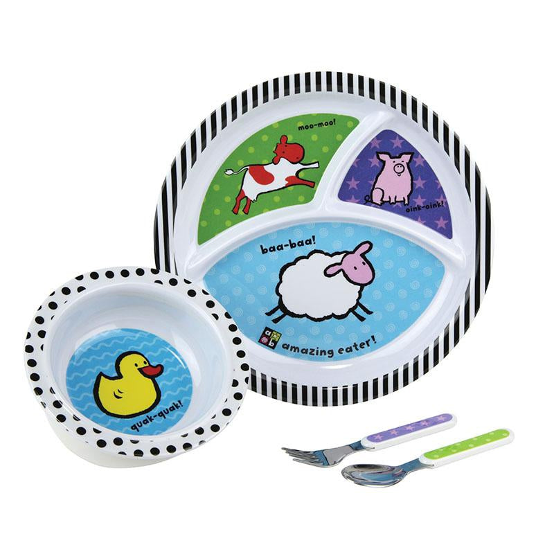 Amazing Baby™ Farm Theme 4-Piece Melamine Dish Set
