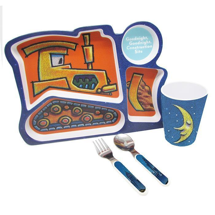 Goodnight, Goodnight Construction Site Excavator 4 pc. Melamine Tray Set w/ cup and stainless steel utensils from Kids Preferred 081787915022 91502