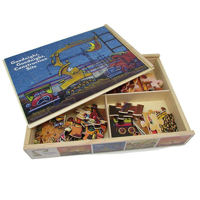 Goodnight, Goodnight Construction Site Set of 4 Wooden Jigsaw Puzzles from Kids Preferred 081787915152 91515