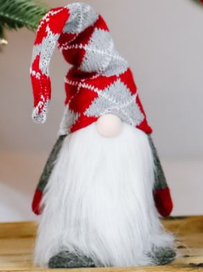 Santa's Lazy Gnome: Plush Argyle Gnome
