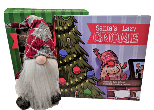 Gift Set | Santa's Lazy Gnome | Book & Plush Argyle Gnome