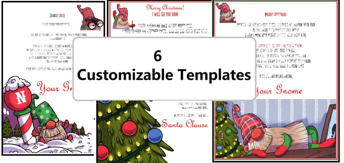 6 Downloadable & Customizable Santa Letters | Gnome Arrival or Anytime | Word Format
