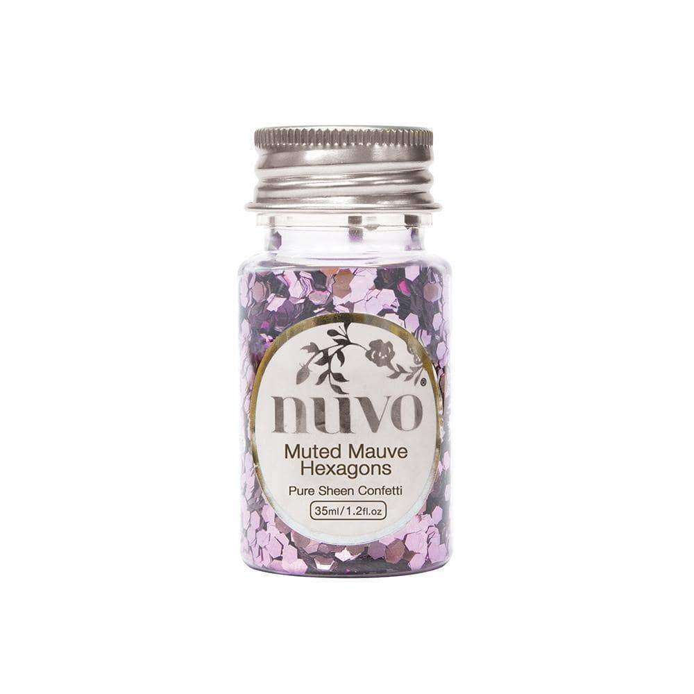 Nuvo Confetti Nuvo - Confetti - Muted Mauve Hexagons - 35ml Bottle - 1061n