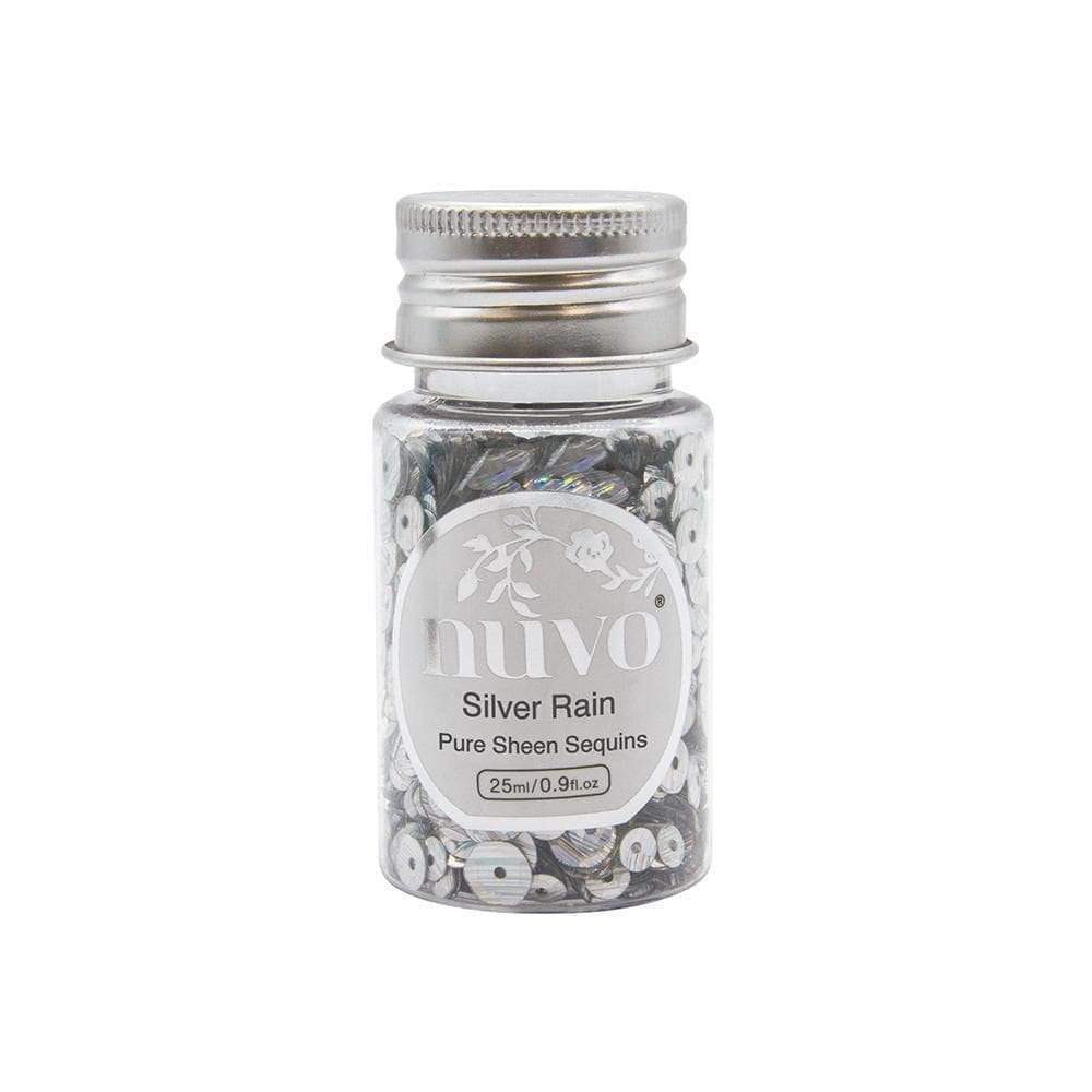 Nuvo Sequins Nuvo - Sequins - Silver Rain Sequins - 35ml Bottle - 1144n