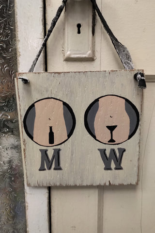 M W Bathroom Sign