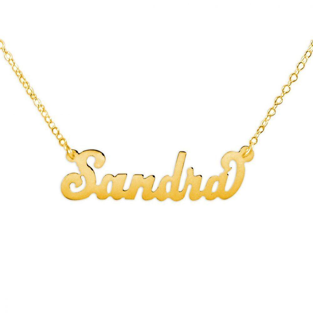 14K gold plated sterling silver carrie name necklace