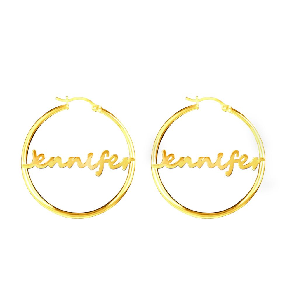 14K gold-plated sterling silver bamboo name earrings hoops