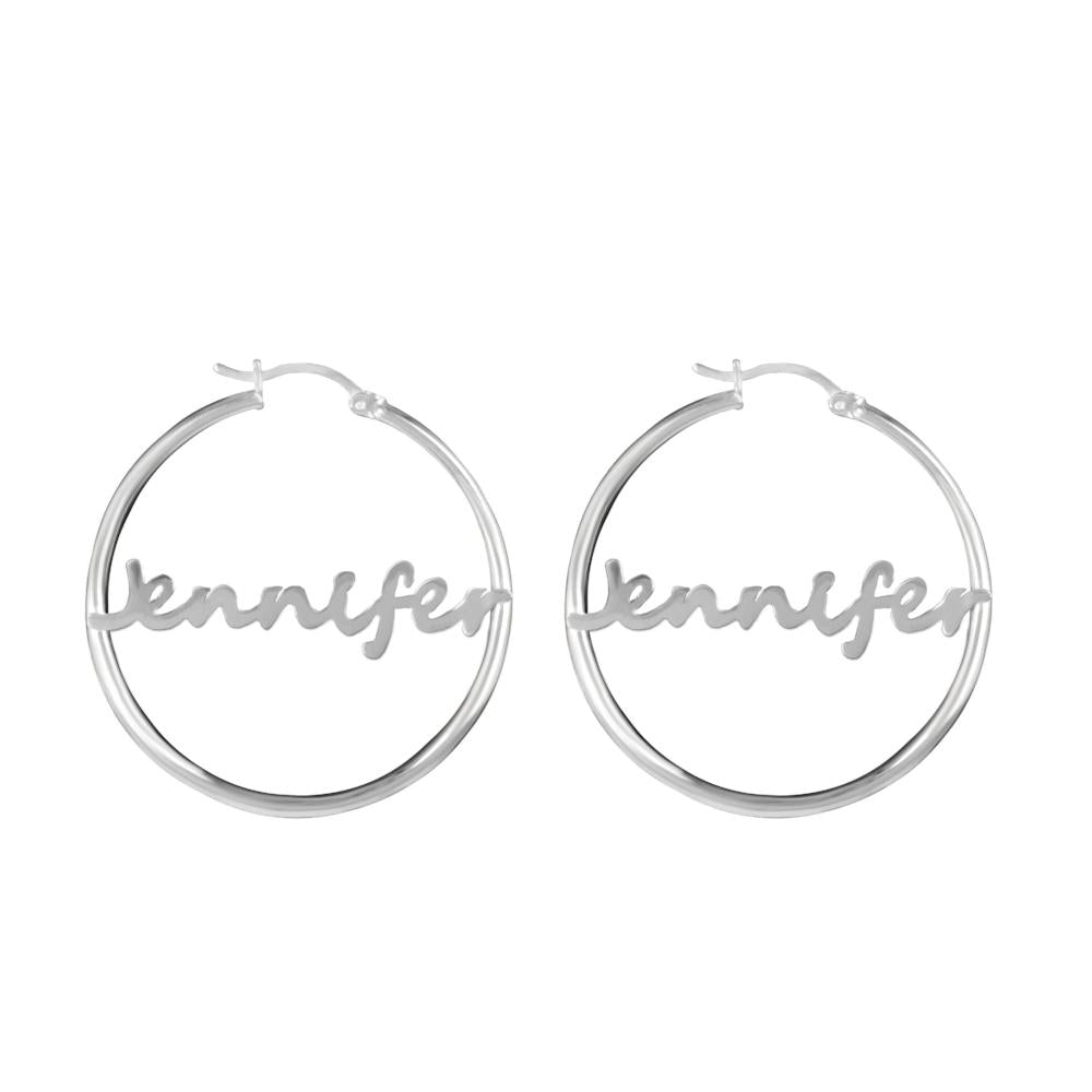 gold bamboo name earrings hoops