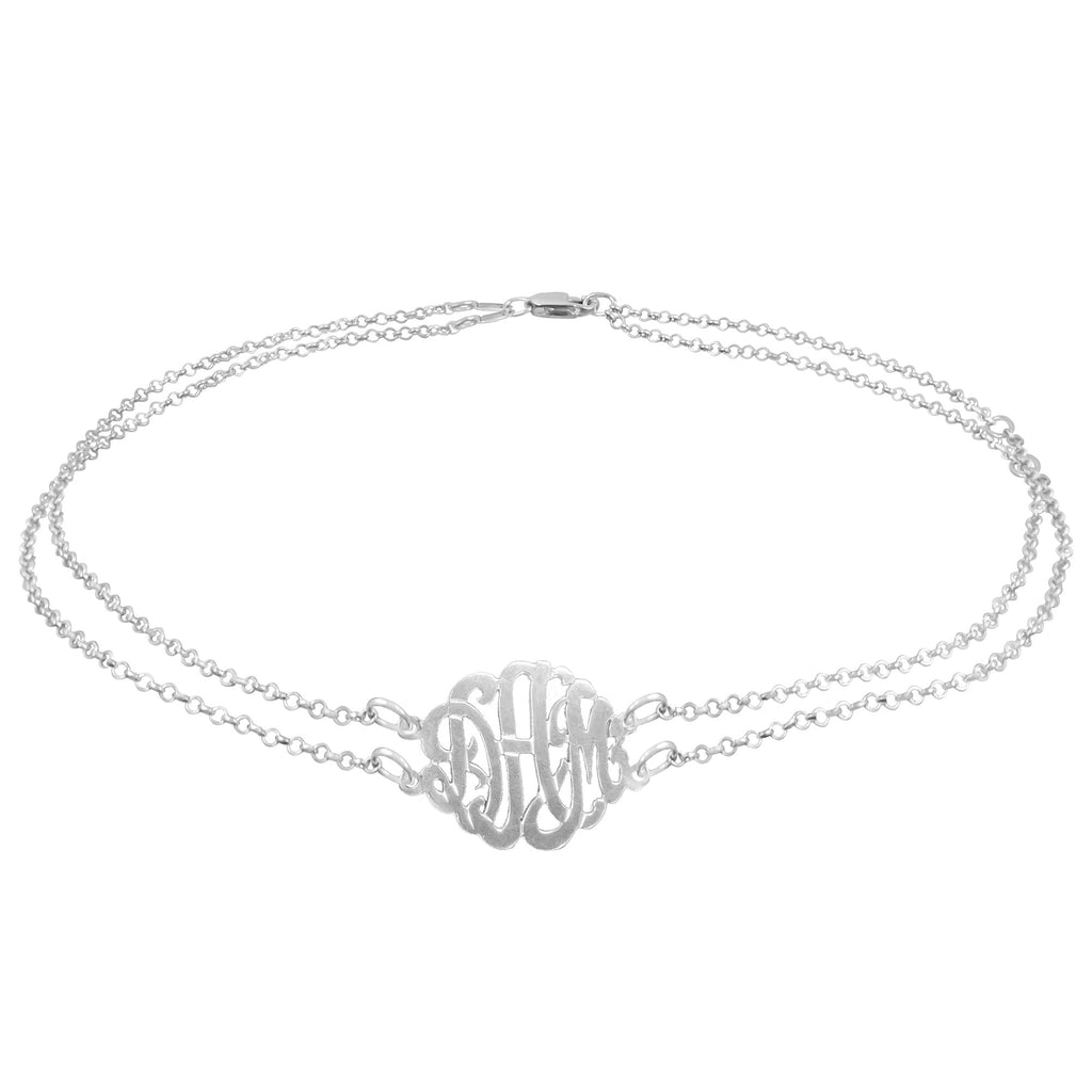 Double Chain Monogram Anklet