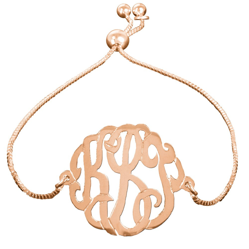 personalized 14K rose gold plated sterling silver monogram bracelet