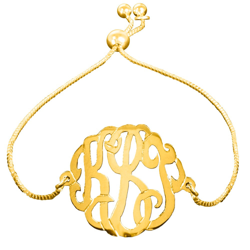 personalized 14K gold plated sterling silver monogram bracelet