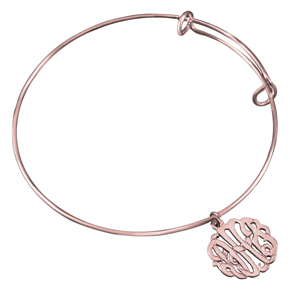 24k rose gold plated sterling silver monogram bangle bracelet