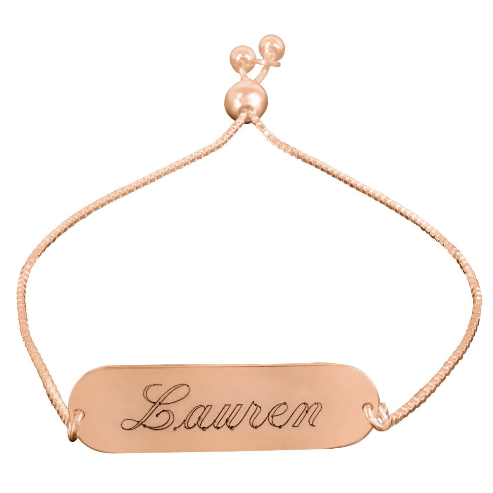 14K rose gold plated sterling silver personalized name bracelet engraved