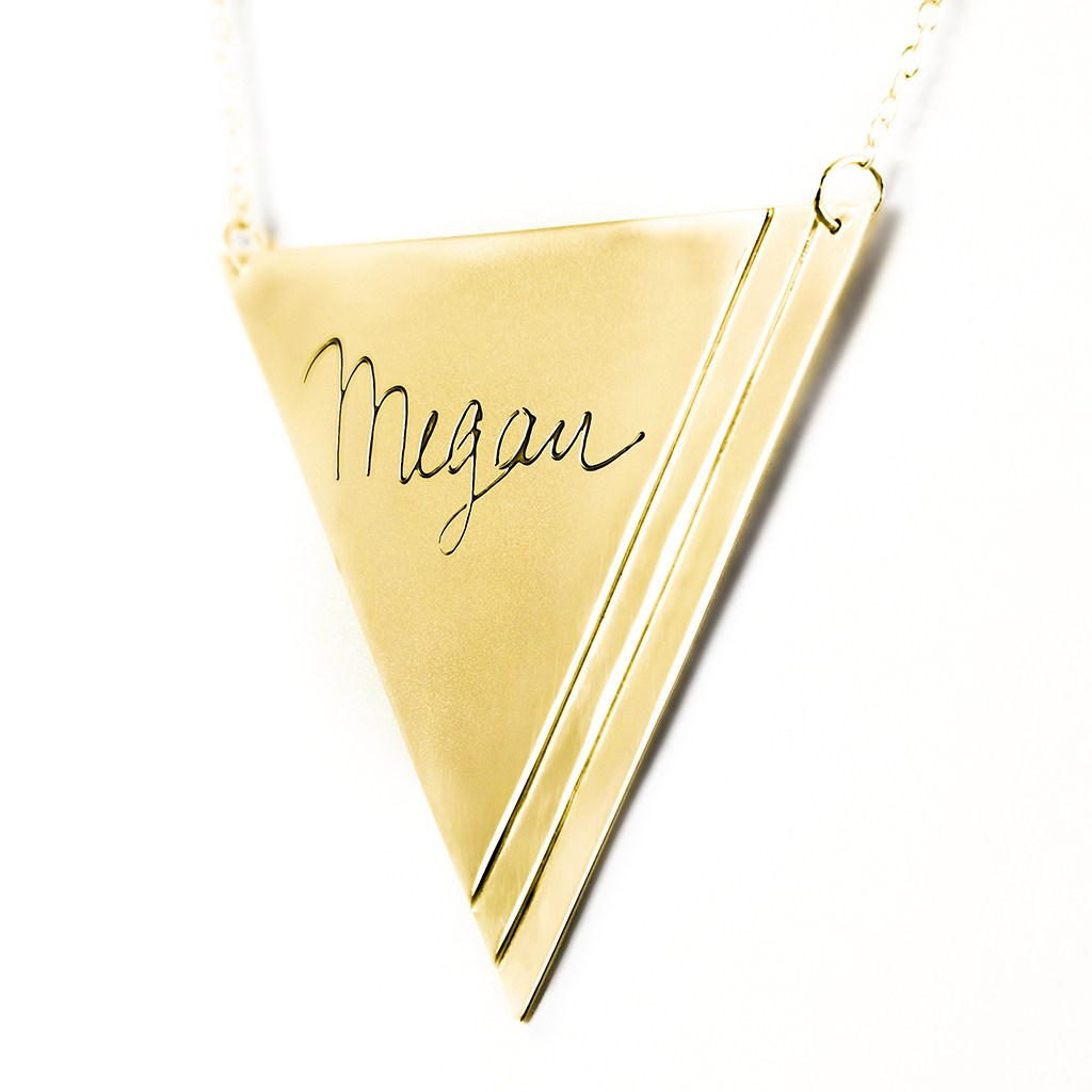 14K gold plated sterling silver inverse pyramid name necklace angle 2
