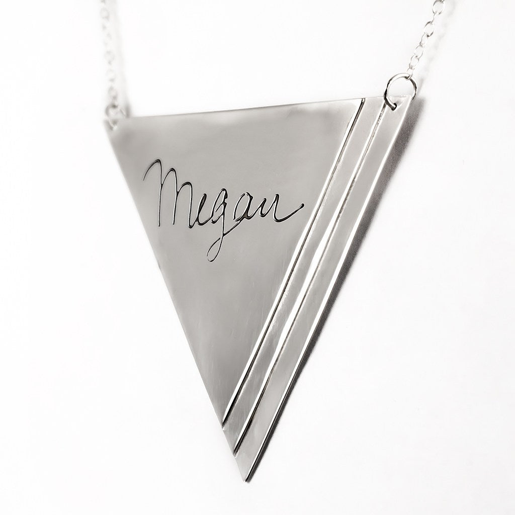 sterling silver inverse pyramid name necklace angle 3