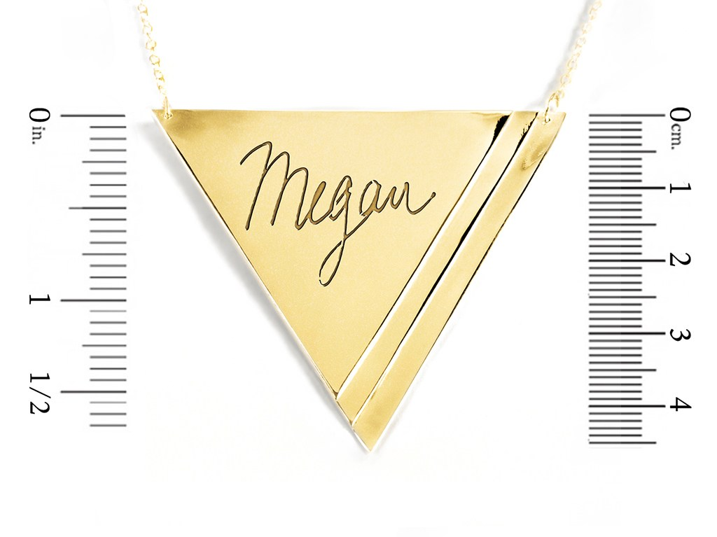 14K gold plated sterling silver inverse pyramid name necklace measurement