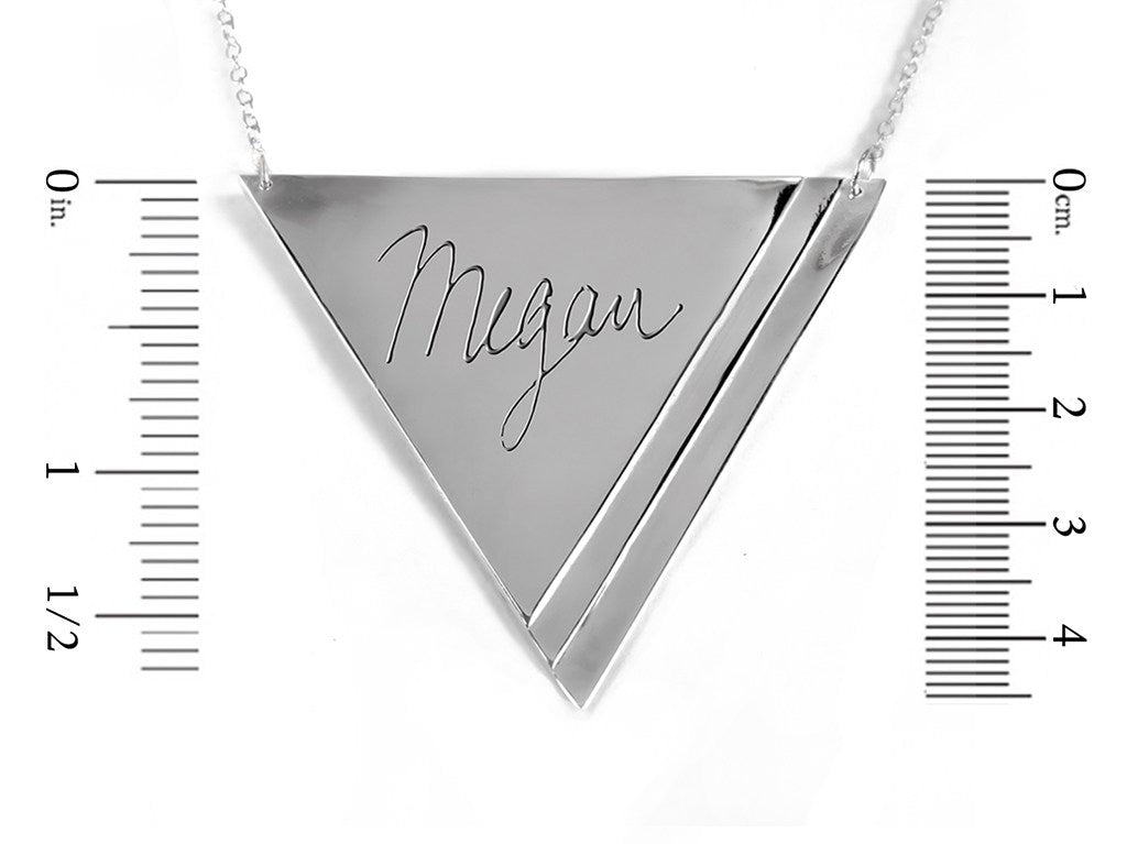sterling silver inverse pyramid name necklace measurement