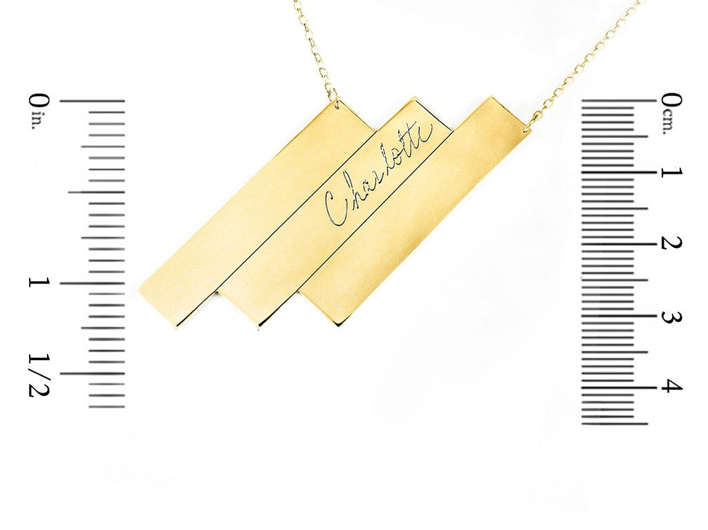 sterling silver triple bar name necklace measurement