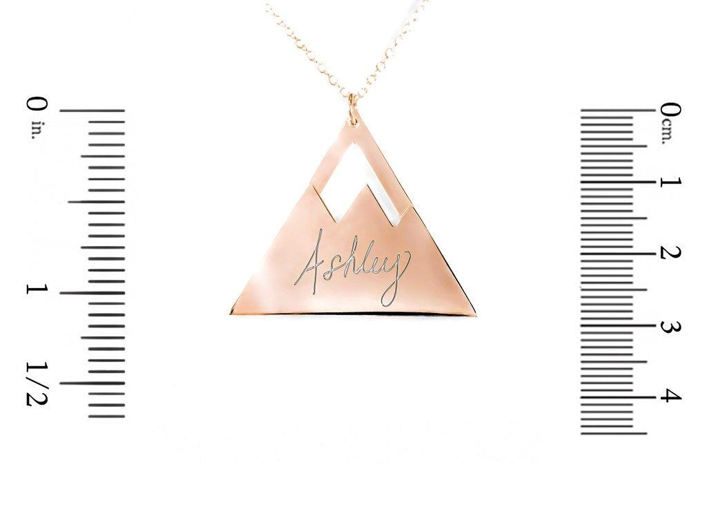 14K rose gold plated sterling silver mountain name necklace measurement